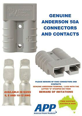 2 X GENUINE Anderson 50 AMP Plug & 4 X 6AWG Auto Contacts, Caravan, 4WD, 4X4