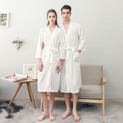 Lightweight Soft Waffle Weave Spa Bathrobe Sleepwear Robes Women Men Clothing US