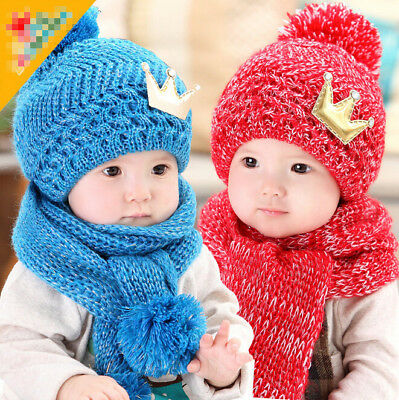 Winter Baby Cute Crown Knit Earflap Hat And Scarf Set Christmas Accessories