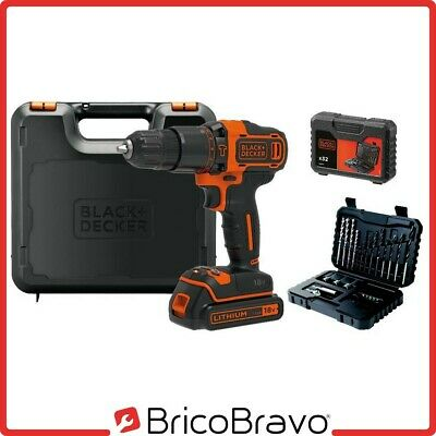 Black+Decker Trapano avvitatore a batteria litio 18V + 32 accessori BDCHD18S32