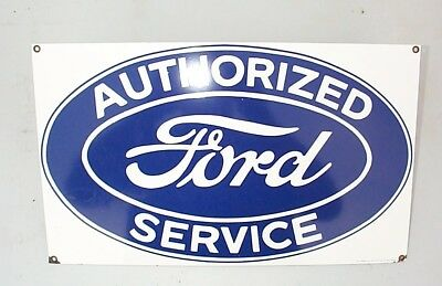 Vintage FORD Authorized Service Sign -  Porcelain Advertising Ande Rooney