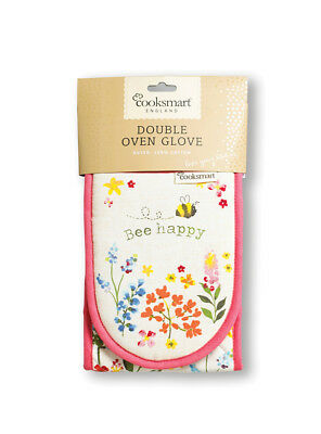 Cooksmart Bee Happy Double Oven Glove Nature Protect Cotton Cooking Baking