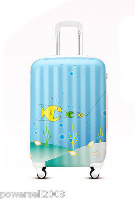 "24"" TSA Lock Universal Wheel Blue Cartoon Fish ABS+PC Travel Suitcase Luggage"