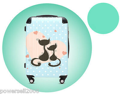 "28"" Cartoon Couples Cat Universal Wheel ABS+PC Pull Rod Box Luggage Box #8 LLX"