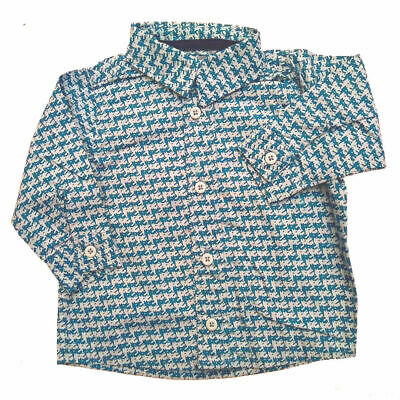 Blue Dog Tooth Smart Shirt Top age 0-2 yrs 100% Cotton long sleeves Baby Boy