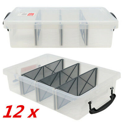 12 x 6L Clear Plastic Storage Box with Removable Dividers Containers Bin Tubs FD