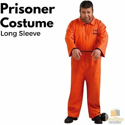 PRISONER COSTUME Halloween Jail Convict Adult Outfit Orange Long Sleeve New