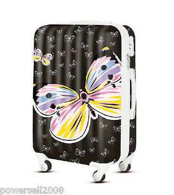"28"" New TSA Lock Universal Wheel Black Butterfly ABS+PC Travel Suitcase Luggage"