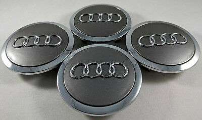 4 PC Set Grey + Chrome Audi Wheel Center Replacement Hub Caps 69MM 4B0601170A