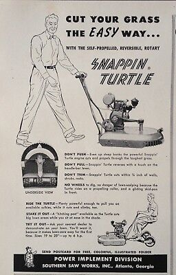 1953 Ad(Xc2)~Southern Saw Works. Atlanta, Ga. Snappin Turtle Rotary Mower
