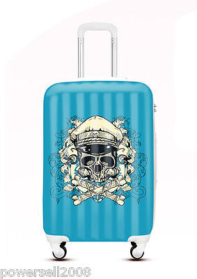 "24"" TSA Lock Universal Wheel Blue Skull Pattern ABS+PC Travel Suitcase Luggage"