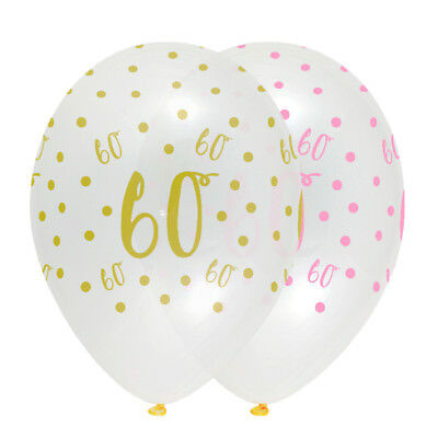 6 X 60th Birthday Clear Balloons Pink Gold Party Decorations Age 60