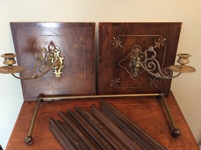 Pair Of Antique Brass Swing Arm Candle Sconces With Original Wood Back Panels