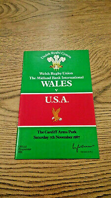 Wales v USA 1987 Rugby Programme