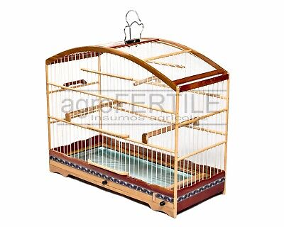 Bird cage half Moon for small pet birds made of wood for Canaries, Finches