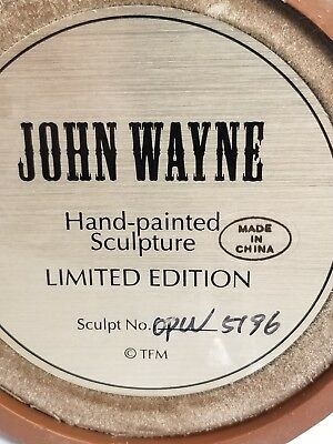 John wayne collectibles hand painted sculpture limited edition glass dome opw...
