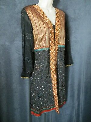 Rajesh Sunil Goyal Black Gold Green Floral Embroidery Sequin Tunic Dress Top M