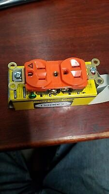 Hubbell Ig5262 Isolated Ground Orange Duplex Receptacle 15a 120vac