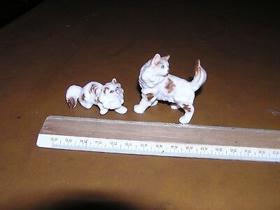2 Vintage Miniature Cat Figurines Porcelain Japan ?