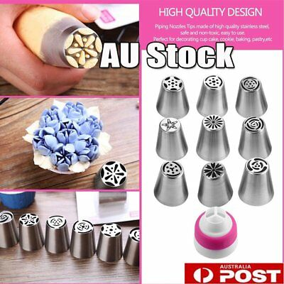 10PCS  Russian Icing Piping Nozzles Cake Decorating Cupcake Tips Pastry Tool Set