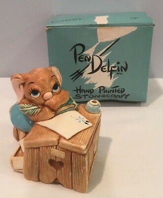 NOS Vintage Pen Delfin Boswell Blue Hand Painted Stonecraft Figurine England Box