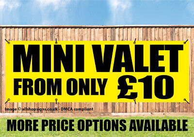 MINI VALET BANNER WITH PRICE MULTIPLE OPTIONS CAR WASH SIGN PVC with Eyelets