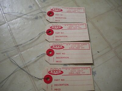 Minneapolis Moline NOS parts tags lot of 4