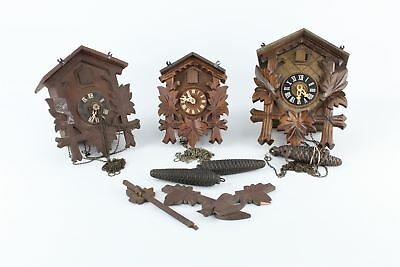 Lot of 3 x VINTAGE CUCKOO CLOCKS for repair / parts / spare