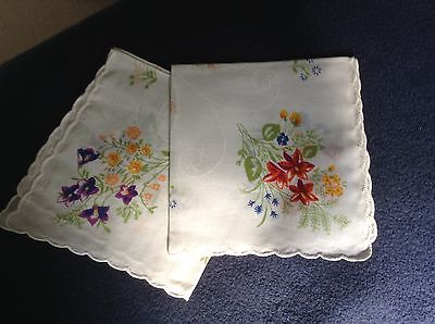 Two Ladies Handkerchiefs, Purple Flowers and Red Flowers,Cotton, New, Scalloped