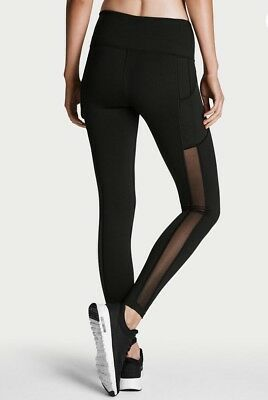 VICTORIA SPORT Knockout by Victorias Secret Pocket Tight Black Mesh Small New!