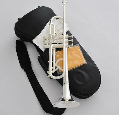 Professional Silver Plated Super Trumpet Horn Reverse Leadpipe Monel New Case