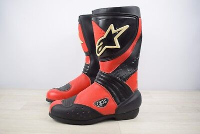 Alpine Stars Red Black Leather Motorbike Motorcycle Boots Size UK 6 EU 39