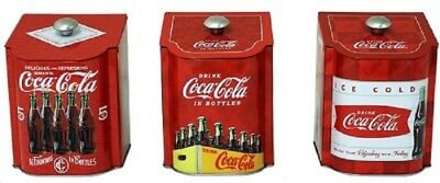 Coca Cola Coke Metal 3 Pc  Tea Tin Canister Set   New!