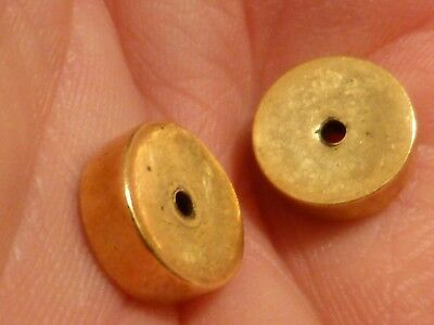 TWO CUSTOM 14 KARAT LARGE DISC GOLD BEADS 11 BY 4 MM  pumtekman