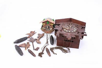 Lot of 2 x Wooden Vintage Cuckoo Clocks and Weights inc Wooden Parts 8011g