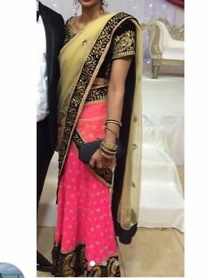 Lengha Sari Hot Pink With Pearl And Black Threadwork Blouse