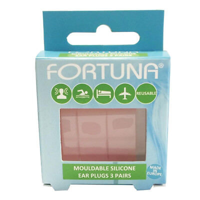 Fortuna Mouldable Silicone Reusable Ear Plugs - 3 Pairs *