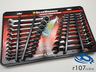 20 pc Genuine Gearwrench Ratchet Spanners. AF Imperial & Metric Set.