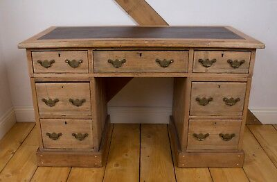 Stripped Pine Kneehole Pedestal Desk