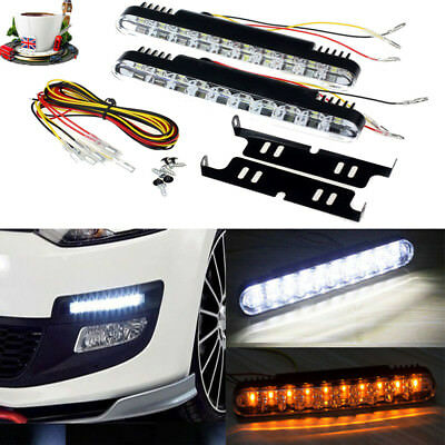 2x 30 LED Car Daytime Running Light DRL Daylight Lamp with Turn Lights