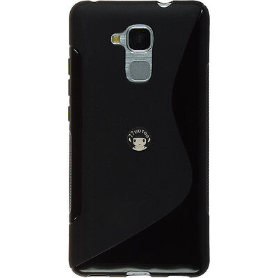 Black S Line Gel TPU Silicone Case Skin Cover For Huawei GT3 / Honor 7 Lite / 5C