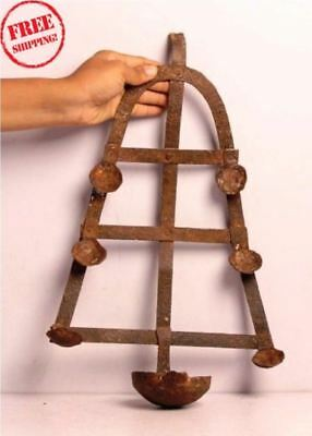 1930's Old Iron Handcrafted Unique Shape Engraved Tribal Hanging Oil Lamp 4517