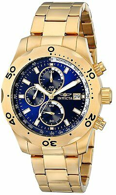 New Mens Invicta 17751 Specialty Chronograph Blue Dial Gold Tone Steel Watch