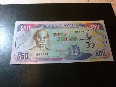 Jamaica : Banknote Fifty Dollars  6.8.2012 Bank of Jamaica