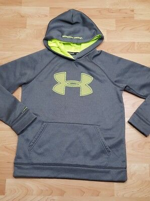 youth Boys' STORM 1 YLG large UNDER ARMOUR sweatshirt hoodie coldgear UA gray