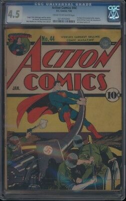 Action Comics (1938) #44 Cgc 4.5 Vg+ Cow Fatman Id Revealed To Mr.america