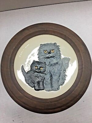 Vintage 1976 Goebel Mothers Series Cat Kitten Collectible Plate With Frame