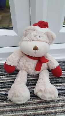 """Mamas And Papas Once Upon A Christmas Winter 14"""" Crumble Bear Red Scarf Hat"""