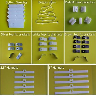 Vertical blind spare parts - headrail brackets weights chains hangers connectors