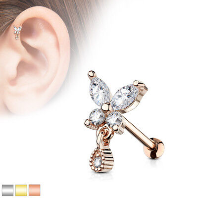 """1pc CZ Gem Paved Triangle Tragus Helix Cartilage Barbell Ring 16g 1//4/"""""""